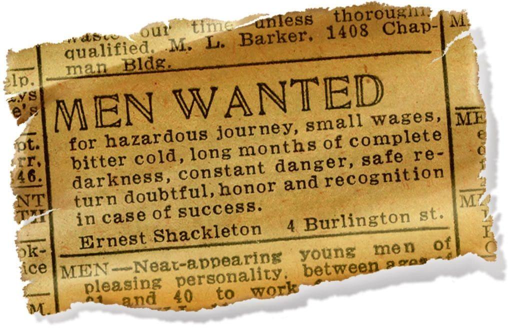 ernest shackleton men wanted ad
